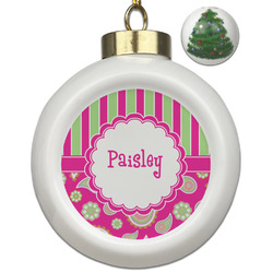 Pink & Green Paisley and Stripes Ceramic Ball Ornament - Christmas Tree (Personalized)