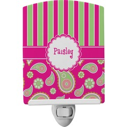 Pink & Green Paisley and Stripes Ceramic Night Light (Personalized)