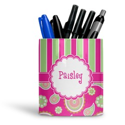 Pink & Green Paisley and Stripes Ceramic Pen Holder
