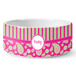 Pink & Green Paisley and Stripes Ceramic Dog Bowl (Personalized)