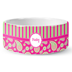 Pink & Green Paisley and Stripes Ceramic Pet Bowl (Personalized)