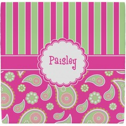Pink & Green Paisley and Stripes Ceramic Tile Hot Pad (Personalized)