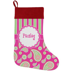 Pink & Green Paisley and Stripes Holiday Stocking w/ Name or Text