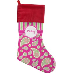 Pink & Green Paisley and Stripes Christmas Stocking (Personalized)