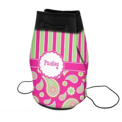 Pink & Green Paisley and Stripes Neoprene Drawstring Backpack (Personalized)