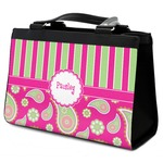 Pink & Green Paisley and Stripes Classic Tote Purse w/ Leather Trim (Personalized)