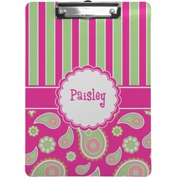 Pink & Green Paisley and Stripes Clipboard (Personalized)