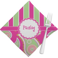 Pink & Green Paisley and Stripes Cloth Napkins (Set of 4) (Personalized)