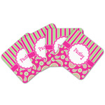 Pink & Green Paisley and Stripes Cork Coaster - Set of 4 w/ Name or Text
