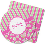 Pink & Green Paisley and Stripes Rubber Backed Coaster (Personalized)