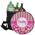 Pink & Green Paisley and Stripes Collapsible Cooler & Seat (Personalized)