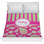 Pink & Green Paisley and Stripes Comforter (Personalized)