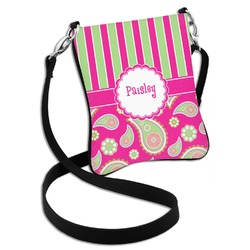 Pink & Green Paisley and Stripes Cross Body Bag - 2 Sizes (Personalized)