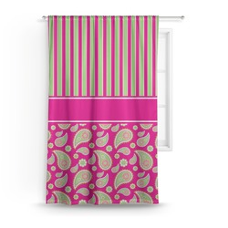 Pink & Green Paisley and Stripes Curtain (Personalized)