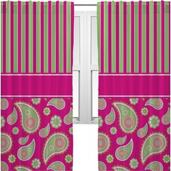 Pink & Green Paisley and Stripes Curtains (2 Panels Per Set) (Personalized)