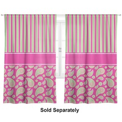"Pink & Green Paisley and Stripes Curtains - 40""x63"" Panels - Lined (2 Panels Per Set) (Personalized)"