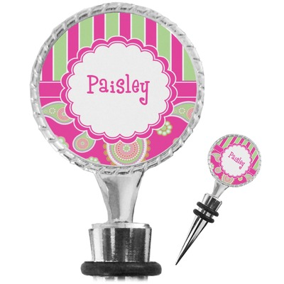 Pink & Green Paisley and Stripes Wine Bottle Stopper (Personalized)
