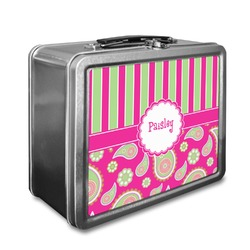 Pink & Green Paisley and Stripes Lunch Box (Personalized)