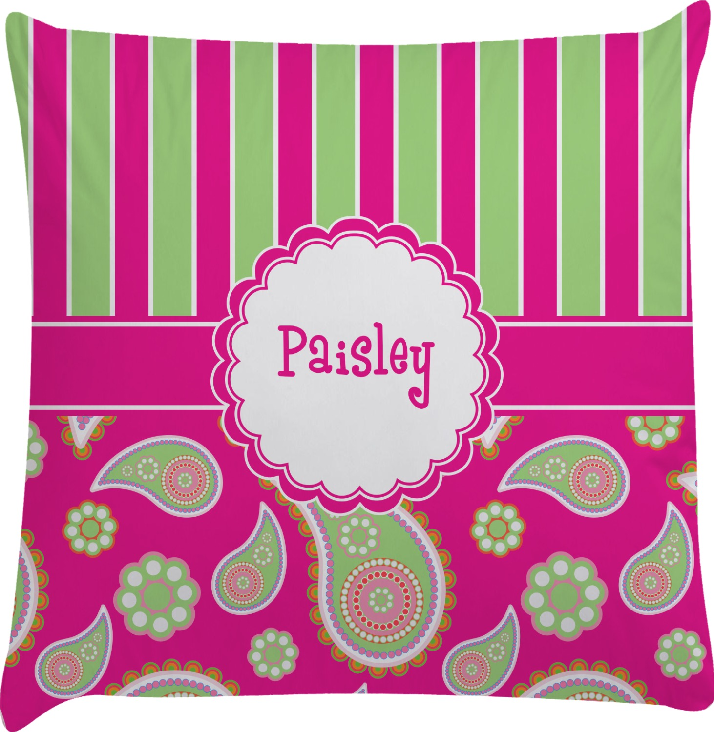 Pink & Green Paisley and Stripes Decorative Pillow Case (Personalized) - You Customize It
