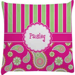 Pink & Green Paisley and Stripes Decorative Pillow Case (Personalized)
