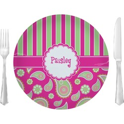 Pink & Green Paisley and Stripes Glass Lunch / Dinner Plates 10