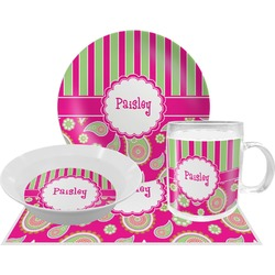 Pink & Green Paisley and Stripes Dinner Set - 4 Pc (Personalized)