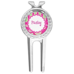 Pink & Green Paisley and Stripes Golf Divot Tool & Ball Marker (Personalized)