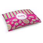 Pink & Green Paisley and Stripes Dog Bed (Personalized)