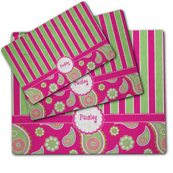 Pink & Green Paisley and Stripes Dog Food Mat w/ Name or Text