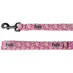Pink & Green Paisley and Stripes Deluxe Dog Leash (Personalized)