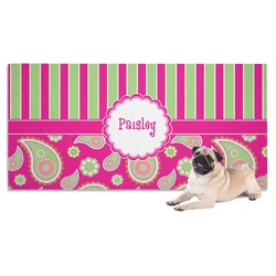Pink & Green Paisley and Stripes Dog Towel (Personalized)