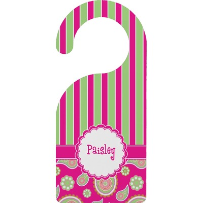 Pink & Green Paisley and Stripes Door Hanger (Personalized)