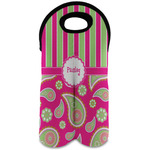Pink & Green Paisley and Stripes Wine Tote Bag (2 Bottles) (Personalized)