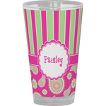 Pink & Green Paisley and Stripes Drinking / Pint Glass (Personalized)