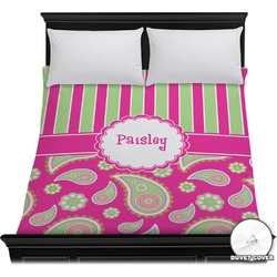Pink & Green Paisley and Stripes Duvet Cover (Personalized)
