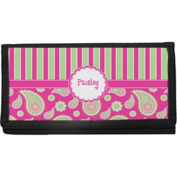 Pink & Green Paisley and Stripes Canvas Checkbook Cover (Personalized)