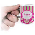Pink & Green Paisley and Stripes Espresso Cups (Personalized)