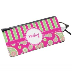 Pink & Green Paisley and Stripes Genuine Leather Eyeglass Case (Personalized)