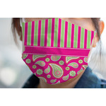Pink & Green Paisley and Stripes Face Mask Cover (Personalized)