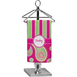 Pink & Green Paisley and Stripes Finger Tip Towel - Full Print (Personalized)