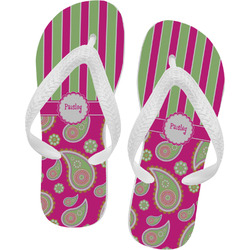 Pink & Green Paisley and Stripes Flip Flops (Personalized)