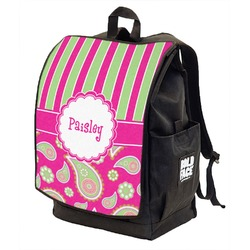Pink & Green Paisley and Stripes Backpack w/ Front Flap  (Personalized)