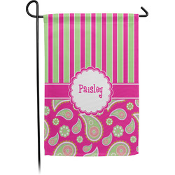 Pink & Green Paisley and Stripes Garden Flag - Single or Double Sided (Personalized)