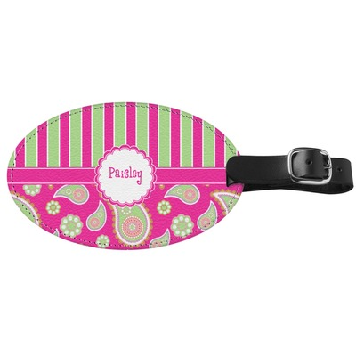 Pink & Green Paisley and Stripes Genuine Leather Oval Luggage Tag (Personalized)