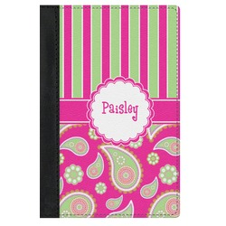 Pink & Green Paisley and Stripes Genuine Leather Passport Cover (Personalized)