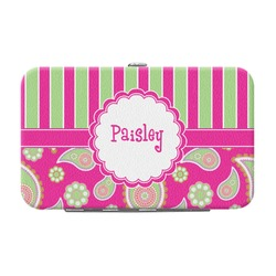Pink & Green Paisley and Stripes Genuine Leather Small Framed Wallet (Personalized)