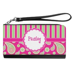 Pink & Green Paisley and Stripes Genuine Leather Smartphone Wrist Wallet (Personalized)
