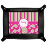 Pink & Green Paisley and Stripes Genuine Leather Valet Tray (Personalized)