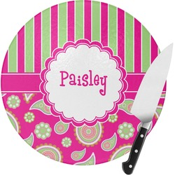 Pink & Green Paisley and Stripes Round Glass Cutting Board (Personalized)