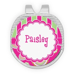 Pink & Green Paisley and Stripes Golf Ball Marker - Hat Clip